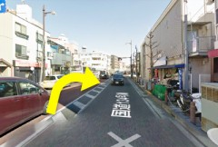 2.しばらく道なりに進んで、久里浜交差点(イオンの手前)を右折します。