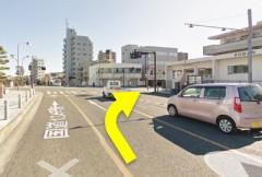 3.夫婦橋交差点を右折します。交通量が多いので、気をつけてくださいね。