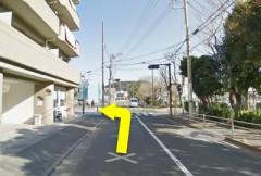 7.左折後のT字路を通り越して、次の信号のある交差点を左折してください。